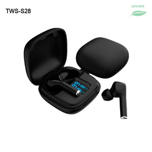TWS Wireless Bluetooth V5.1 Auriculares impermeables S28 LED Pantalla LED 250mAh Caja de carga Mini Auriculares deportivos