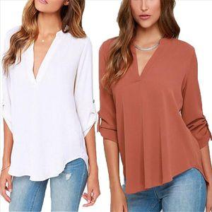 Blusas Femininas New Women V Neck Solid Chiffon Blouse Tops Sexy Fashion OL Long Sleeve Shirt Blouses 6 Colors