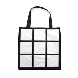 Sublimation Blank Bags 9 Panel White Single Side Handbag Women Shopping Big Sack DIY Black Shoulder Strap Portable 12ex G2