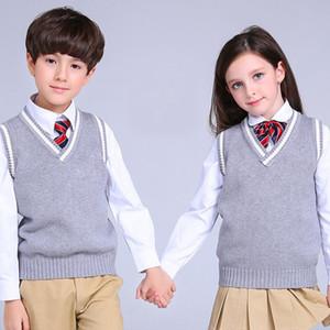 Acthink New Boys Jersey Chaleco Marca Escuela School Children V-cuello de lana chaleco suéter para niñas Niños Caída / Invierno Suéter de punto, C322 201110