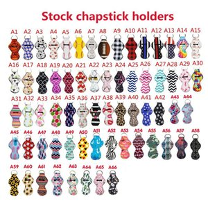 66Colors Pattern Stampa Chapstick Portachiavi Portachiavi Handy Lip Balm Balsamo in neoprene Portachiavi Portachiavi per custodia per il regalo di rossetto rossetto