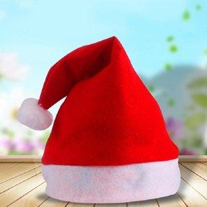 200pcs Roter Weihnachtsmann-Hut Ultra Soft Plüsch Weihnachten Cosplay Kappen Weihnachtsdekoration Erwachsene Weihnachten Party-Hüte GWE2895