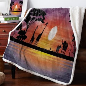 Giraffe Elephant Grassland Sunset Throw Blanket Bedspread Coverlet Soft Warm Fleece Blanket Christmas Decor Blankets for Beds