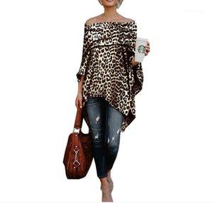 Irregular Womens Tops Loose Long Sleeve Womens Clothes Fashion Leopard Printed Womens Sweatshirts Casual Slash Neck