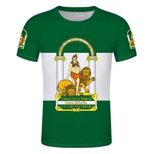 Andalousia Shirt Free Custom Custom Nom Nom Sevilla T-shirt Print Drapeau Mot Malaga Cadix Granada Huelva Almeria Espagne Vêtements