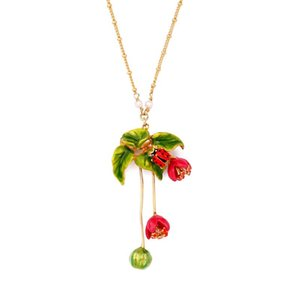 Juicy Grape Hand-painted Enamel Flower Necklace Personality Simple Fringed Pendant Necklace Collarbone Chain
