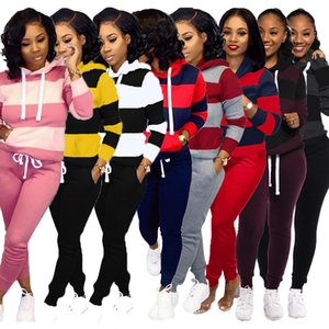Designer Women Tracksuit 2 Piece Set Casual Striped Stitching Long Sleeve Hooded Pullover Pencil Pants Outfits Ladies Fashion Sportswear