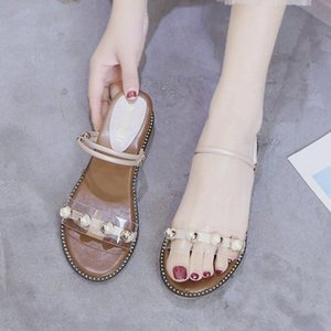 Summer Low-heeled Wedges Sandals and Slippers Female 2020 New Slope Two Wearing Sandals Female Korean Pearl Word Slippers