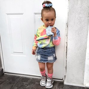 Imcute Toddler Kid Baby Girls Clothes Tie dye Print Tops Ripped Button Jeans Denim Short Skirts se 201126