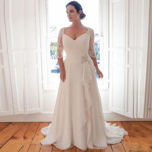 Cheap Plus Size Wedding Dresses 2021 Vestido De Novia Beaded Chiffon Bridal Dresses with Lace Shoulder Sleeves Robe de Marriage Dress