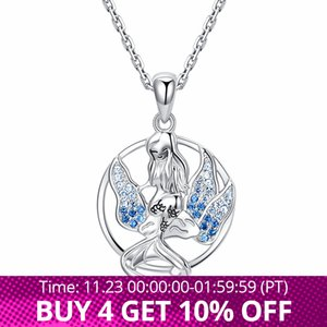 New 100% 925 Sterling Silver Beautiful Mermaid Pendant Chain Zircon Seaweed Necklace for Women Fashion Jewelry Gifts Free Ship Z1126