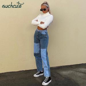 Suchcute E-kız kadın kot pantolon Baggy Y2K Yüksek Bel Düz Pantolon Denim Pantolon 2020 Moda Streetwear Erkek Arkadaşı Joggers 90s