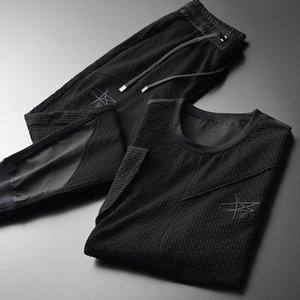 Minglu Black Mens наборы (футболка + брюки) роскошные вышивка с короткими рукавами мужские наборы плюс размер 4XL вертикальная полоса лета наборы лета 20110