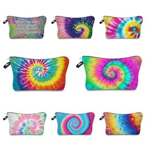 10 Colors Tie-dye Makeup Bag Cosmetic Pouch Zipper Pencil Case Women Girls Handbags Storage Totes Wallet Make Up Brush Wash Bags E120406