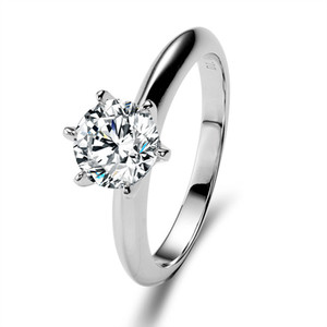 925 silver white high quality prong setting round shape moissanite diamond ring for wedding