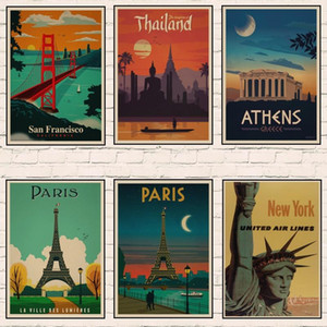 PARIS ROME VENICE LOND0N Art Travel Poster Vintage Kraft Travel Wall sticker Posters Home Gift Decoration room decoration A3