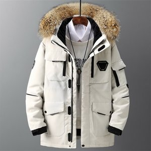 Thicken Men's Jacket With Big Real Fur Collar Warm Parka -30 degrees Men Casual Waterproof Down Winter Coat Size 3XL Q1119