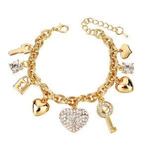 Fashion Heart Beetle Charm Bracelets Bangles For Women Gold Plated Bracelet Austrian Crystal Chain Pulseras