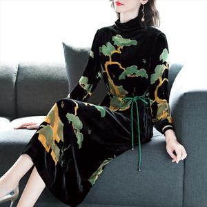 Velvet dress female 2020 autumn new lace Slim sexy black long sleeved dress large size M 4XL high quality womens party vestidos