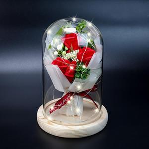 Valentine'S Day Gift Eternal Flower Glass Lampshade Led Luminous Gift Box For Girlfriend And Girlfriend Birthday
