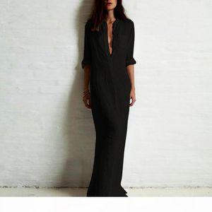 3XL Plus Size Vestidos Autumn Women Ladies Sexy Casual Long Shirt Dress Long Sleeve Deep V Neck Split Solid Maxi Dress