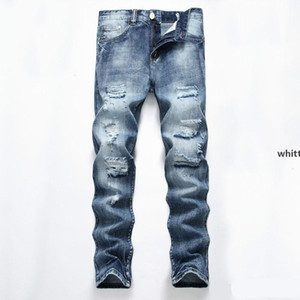 2020 Men &#039 ;S Light Blue Hole Straight Slim Jeans Men Straight Slim Hole Denim Jeans Pants Men &#039 ;S Jeans Clothes n