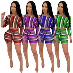 Hot selling 2021 New women's wear spring and summer irregular medium sleeve shorts two piece women's Designer fashion stripe printing Suit