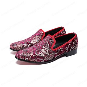 New Fashion Suede Leather Men Loafers Large Size Sequins Printing Slip on Round Toe Formal Men Dress Shoes