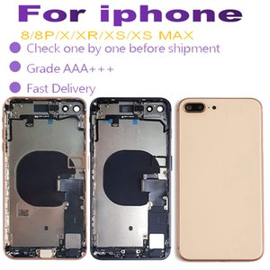 For iphone 8 8plus X XR XS XS MAX Back Glass Middle Frame Chassis Full Housing Assembly Battery Cover door with cable