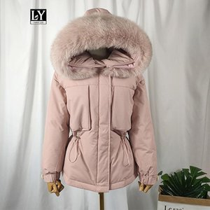 Ly Varey Lin New Large Natural Fur Duck Down Jacket Women Winter Warm 90% White Duck Down Parka Female Sash Tie Up Outerwear