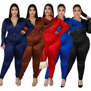 Plus Size Women Tracksuits Sexy V Neck Two Piece Sets Fashion High Waist Skinny Pants + Long Sleeve Bodysuits Outfits