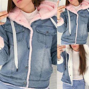 Winter Denim Jacket Women Loose Plus Velvet Keep Warm Lamb Wool Hooded Coat Fashion Casual Large Size Cotton Clothing 3XL