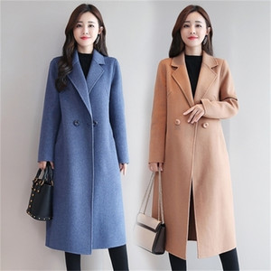 Womens Red Coat Cashmere Plaid Korean Wool Winter Coat Female Tops and Blouses Womens Plus Size Fashions Female Jacket B108 201218