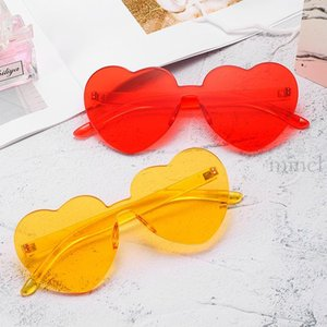 2020 Heart Shaped Love Sunglasses Rimless One Piece Stylish Transparent Lens Brand Designer Futuristic Cute Girl Sunglasses NX