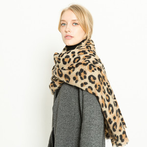 Autumn and winter 2021 leopard pattern cashmere imitation warm and thickened women's scarf shawl and neck