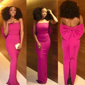 African Fuchsia Black Girls Sheath Prom Dress Strapless with Big Bow Evening Party Dresses Backless Back Slit robes de bal vestidos de fiest