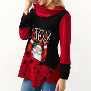 Christmas Shirt Women T-shirt Red Santa Claus Print Xmas Plus Size Women Long Sleeve Warm Scarf collar Shirt Tops Tshirt Woman A1112