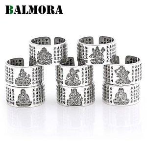 Balmora Real 990 Pura Prata Budismo Mantra Aberto Empilhamento Anéis Para As Mulheres Homens Casal Retro Moda Punk Jóias 1 peça Anillos Z1121