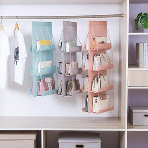 8 Pocket Hanging Handbag Organizer for Wardrobe Closet Transparent Storage Bag Door Wall Clear Sundry Shoe Bag with Hanger Pouch