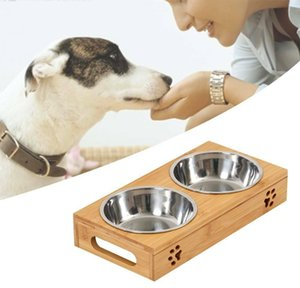 Dog Food Large Feeding Stand Station Stainless Pet Double Bowls Stand wmtdpG mywjqq