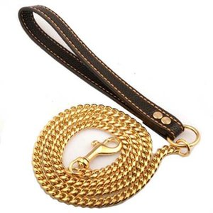 10MM Luxury Gold Chain Dog Pet Leashes Supplies Leather Handle Portable Puppy Dog Cat Leash Rope Straps For Medium Large Dogs