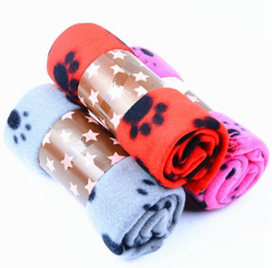 Cute Pet Dog Cat Blanket Paw Prints Soft Warm Fleece Mat Bed Cover mix Colors Choose Free shipping