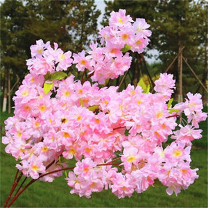 Artificial Cherry Blossom Branch Begonia Sakura Tree Stem Wedding Arch Decoration Flower Background Wall Hanging Fake