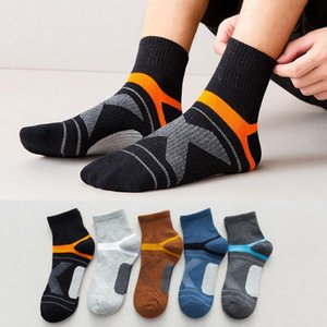 5 Pairs New Arrival Men's Compression Deodorant Socks Men Cotton Black Ankle Socks Sweat Absorbent Sports Man basketball