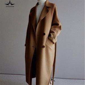 Leiouna manga larga sólido Vintage suelto Nueva Moda Mujeres Correas Abrigos Básico Outdoor Outwear Outwear 201104