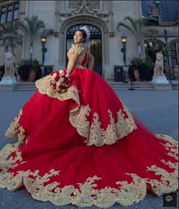 Red Quinceanera Dresses with Gold Applique Cold Shoulder Crystal Beaded Lace Layers Princess Sweet 16 Dresses Prom Gowns P136