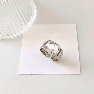 Echt 925 Sterling Silber G Ring Hohl Buchstaben Ring Einfache Modeschmuck Hip Hop Punk Ring Party Geschenk Zubehör Charme Designer Schmuck