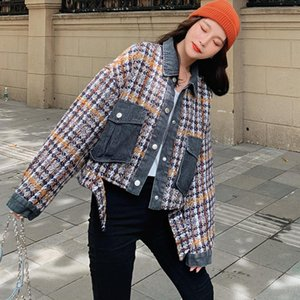 LANMREM 2020 autumn winter coat fashion Korean loose turn-down collar single-breasted all-match denim split plaid jackets 2A745