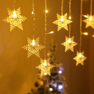 LED Christmas Light String Suction Taza Colgante Lámpara Estrella String Luces Ventana Decoración Lights Bells Snowflake Tree 30pcs T1I3044