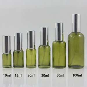 Lotion Spray Pump Green Clear Container,Serum Glass Bottle 30ml